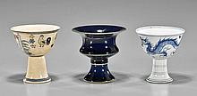 Three Ming-Style Porcelain Stem Cups