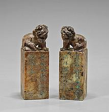 Pair Chinese Carved Sealstone Fo Lion Seals