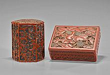 Two Chinese Carved Lacquered Boxes