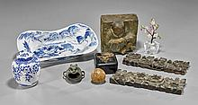 Nine Various Items: Plaque, Dishes, Panel