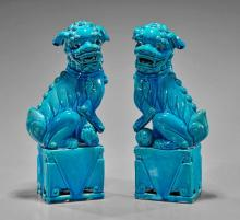 Pair Chinese Cerulean Blue Fo Lions