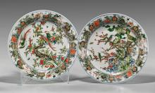 Pair Chinese Famille Verte Chargers