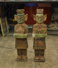 Pair Carved Polychrome Stone Figures