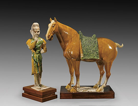 IMPORTANT TANG POTTERY HORSE & GROOM