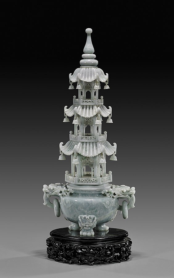 LARGE CARVED JADEITE PAGODA KORO