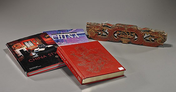 Three Chinese Art Books & Carved Wood Panel