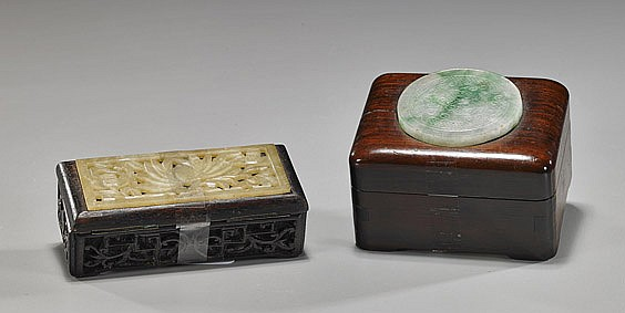 Two Small Chinese Covered Boxes
