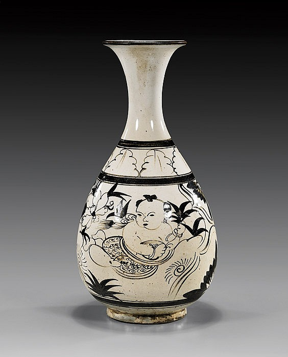 Chinese Cizhou-Style Glazed Bottle Vase