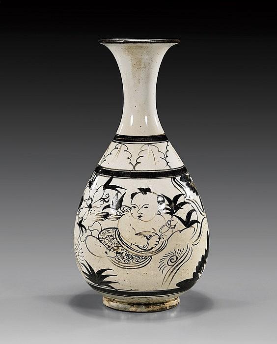 Chinese Cizhou-Style Glazed Bottle Vase