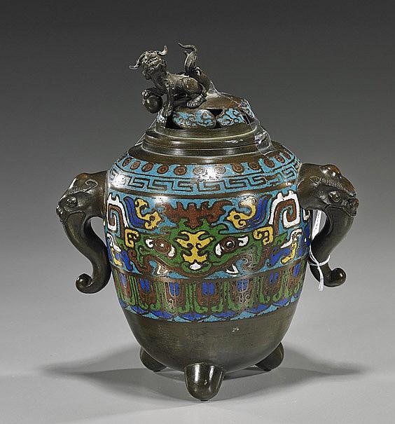 Antique Japanese Champlevé Enamel Censer
