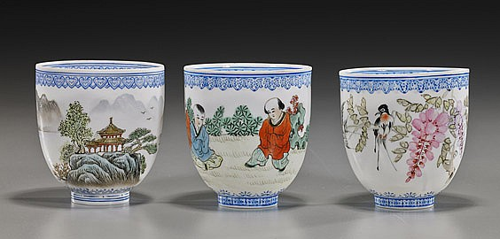 Set of 3 Chinese Eggshell Porcelain Cups