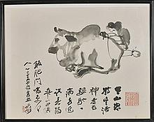 Old Chinese Print: Water Buffalo