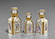Three French Limoges Porcelain Boudoir Bottles