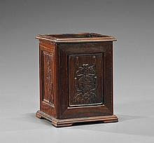 Chinese Carved Square Hardwood Brushpot