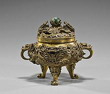 Chinese Carved Bronze Tripod Censer