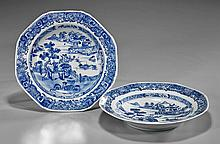 Pair Antique Chinese Export Blue & Bowls