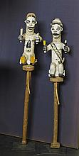 Pair African Carved Wood Figural Puppets
