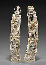 Pair Tall Old Chinese Ivory Figures