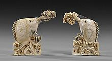 Pair Old Chinese Ivory Fish Snuff Bottles