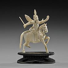 Antique Chinese Carved Ivory Equestrian