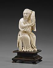 Chinese Ivory Carving of a Seated Woman