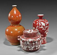 Group of Three Ming-Style Porcelains