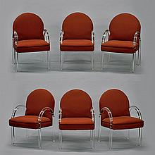 Six Contemporary Upholstered Acrylic Armchairs