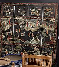 Antique Chinese Coromandel Lacquer Screen
