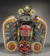 Huge Indonesian Polychromed Wood Mask
