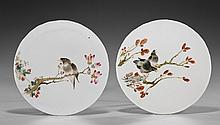 Pair Chinese Circular Porcelain Tiles: Magpies