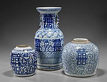 Three Antique Chinese Blue & White Porcelains