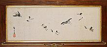 Antique Japanese Paper Scroll: Cranes