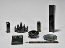 EIGHT CARVED SPINACH JADE SCHOLAR'S OBJECTS