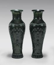 PAIR CARVED SPINACH JADE VASES