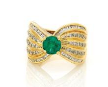 EMERALD & DIAMOND 18K GOLD RING