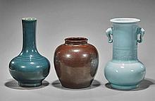 Three Monochrome Glazed Vases