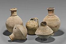 Five Omani White Glazed Pottery Vessels