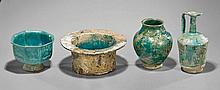 Four Omani Turquoise Glazed Pottery Vessels