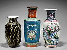 Three Tall Qing-Style Enameled Vases