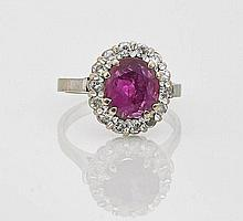 Platinum, Ruby & Diamond Ring