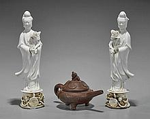 Three Chinese Items: Guanyin & Teapot