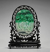 Carved Jadeite Oval Tablescreen