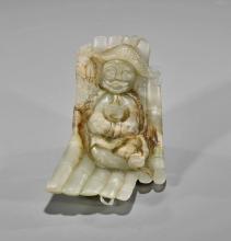 Chinese Carved Celadon Jade: Man