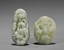 Two Carved Celadon Jade