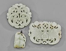 Three Chinese Celadon Jade Plaques