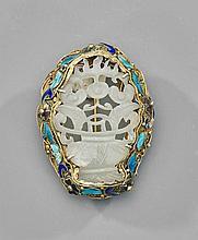 Antique Chinese Carved Jade Flower Basket