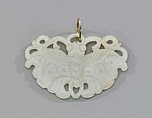 Antique Carved White Jade Moth Plaque