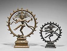 Two Indian Bronze Shiva Nataraja Figures