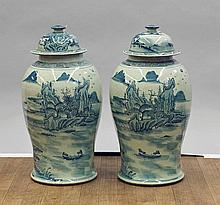 Pair Tall Blue & White Covered Jars