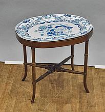 Chinese Blue & White Charger Table